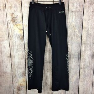 BCBGMaxAzria Black Rhinestone Lounge Pants Sz M